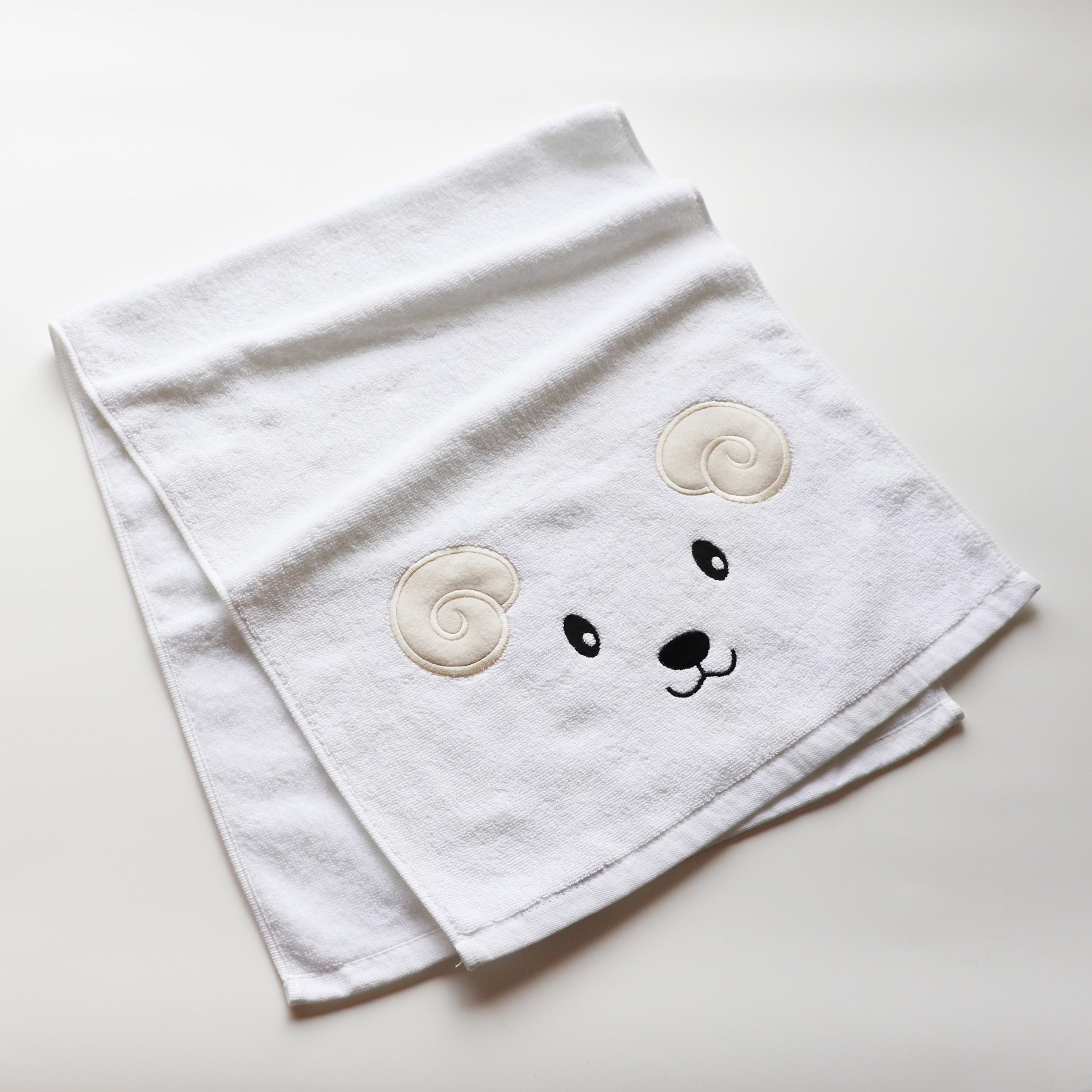 【062701】<br>オリジナル刺繍/A位置<br>AI<br>フェイスタオル<br>ホワイト
