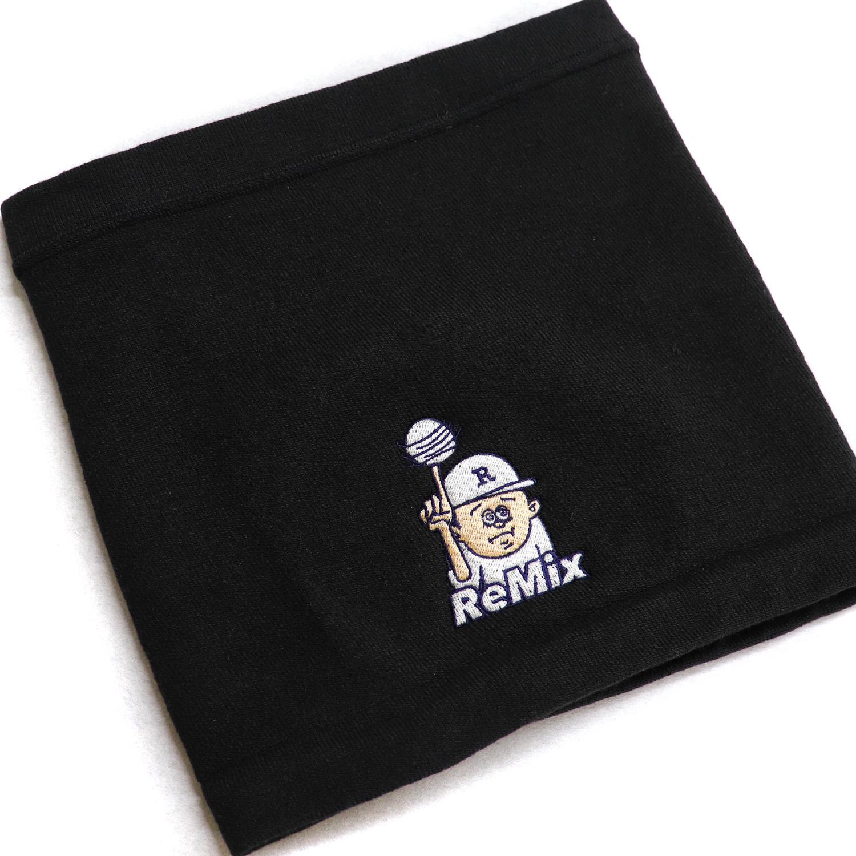 【18091】ホットレイネックウォーマー/黒/オリジナル刺繍